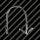 arrow, direction, down, navigation