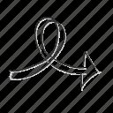 arrow, direction, doodle, left icon