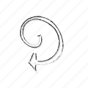 arrow, doodle, loop, repeat, sync