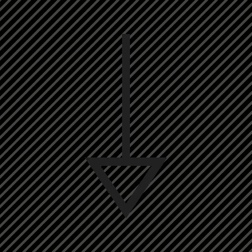 arrow, design, direction, down, pointer, round, sign icon