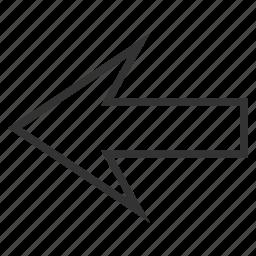 arrow left, backward, direction, navigation, pointer, previous, undo icon