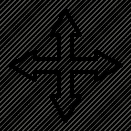 arrow, crossroad, direction, move, navigation, tool icon