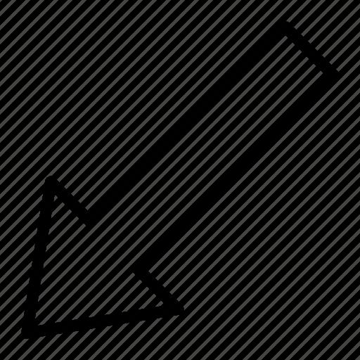 arrow, diagonal, direction, down, left, navigation icon