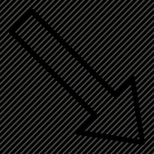 arrow, diagonal, direction, down, navigation, right icon