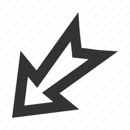 arrow, direction, down left, export, move out, navigation, pointer icon