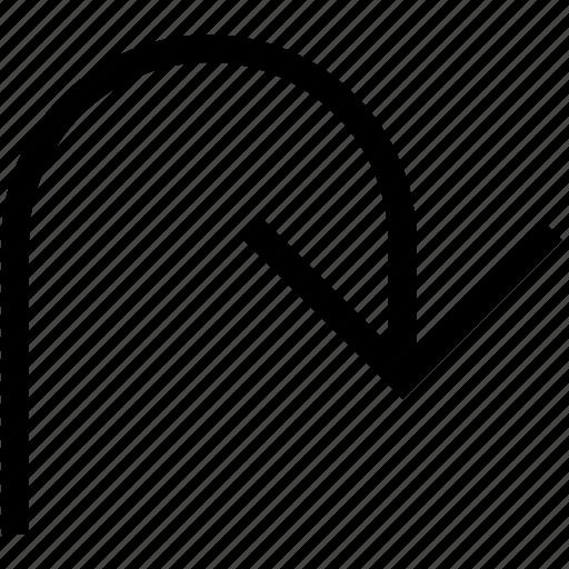 arrow, direction, down, pointer icon