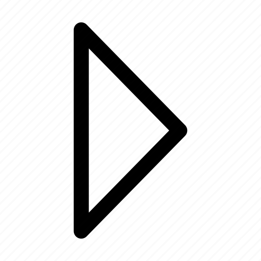 arrow, forceful, play, right, sort, strong, triangular arrow icon