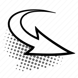 arrow, curve, half-tone, retro, sign, twisted icon