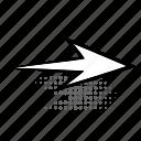 twisted, curve, half-tone, sign, retro, arrow icon
