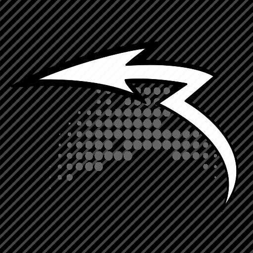 arrow, curve, half-tone, retro, sign, twisted icon