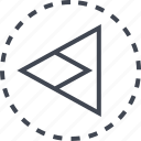 arrow, back, direction, sleek icon