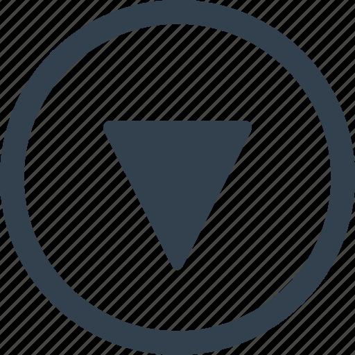 arrow, circle, direction, down icon