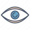copyright, eye, eyeball, human, optical, view, vision icon