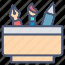 art tools, design, pencil, ruler, school, writing icon
