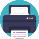 color printer, documents printing, fax machine, forwarded documents, printing machine icon