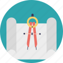 compass, engineering drawing, figurative drawing, geometric figures, technical drawing icon