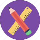 drawing pencil, geometry tools, pencil and ruler, stationery, writing material icon