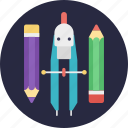 compass, drawing pencil, geometric items, sketch pencil, stationery items icon