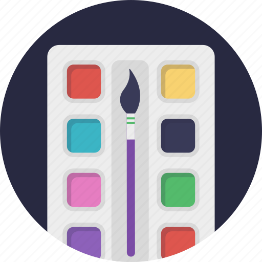 art, paint brush, painting, watercolors palette, watermarks icon