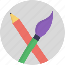 brush and pen, lead pencil, paint brush, sketch pencil, stationery material icon