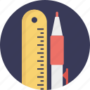 pencil and ruler, school accessories, simple art, stationery, writing pen icon