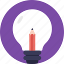 artistic idea, bright idea, creative idea, creative representation, pencil in bulb icon