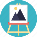 canvas, canvas stand, paint, painting, scenic painting icon