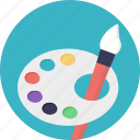color plate, oil paints, paint brush, paint palette, poster paints, watercolors icon