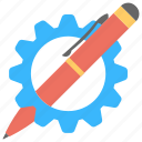 creative design, drawing concept, geometric symbol, improve design, pen with gear wheel icon