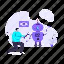 machine technology, robot engineering, robotic device, robot technology, ai icon