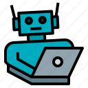 ai, artificial, intelligence, laptop, robot icon