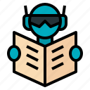 ai, artificial, intelligence, reading, robot icon