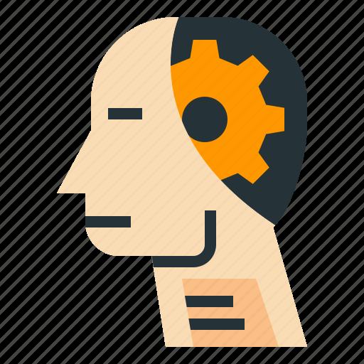 ai, artificial, gear, intelligence, robot icon