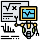 analysis, android, cyborg, robot, statistic icon