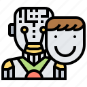android, face, mask, robot, skin icon