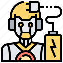 android, battery, charger, cyborg, robot icon