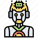 android, cyborg, microchip, microprocessor, robot icon