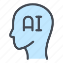 ai, artificial, head, intelligence, network, robot, technology icon
