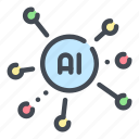 ai, artificial, connection, data, intelligence, network, technology icon