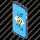 cyber eye, cyber monitoring, cybernetics, mechanical eye, remote monitoring icon