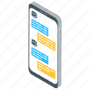 chatbot, consulating, conversation, mobile chatting, smartphone chatting icon