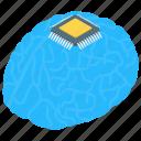 artificial intelligence, brain processor, computer interface brain, computerized brain, electronic brain chip icon