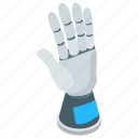 artificial robot hand, mechanical hand, robot arm, robot hand, robotic automation icon