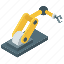 industrial arm, industrial robot, production robot, robot hand machine, robot technology, robotic hydraulic arm icon