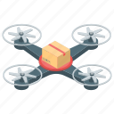 air freight, drone delivery services, drone flight, drone logistics, shipping quadcopter icon