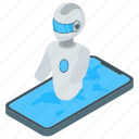 android phone robot, artificial intelligence, mobile robotics, robot technology icon