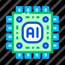 artificial, intelligence, microchip icon icon