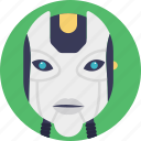 artificial intelligence, bionic man, humanoid robot face, mechanical man, robot icon