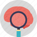 brain research, brain study, brain with magnifier, neuroscience, psychology concept icon