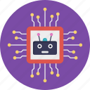 artificial intelligence, high technology, microprocessor based robotics, microprocessor in robotic, robotic computation icon